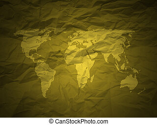crumpled paper and world map gold
