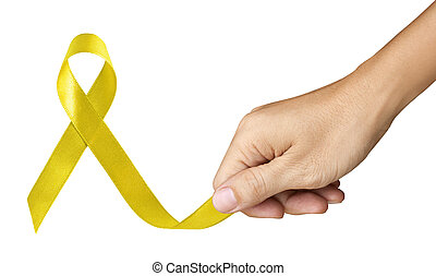 Hand Make Yellow Ribbon for Bone Cancer symbol on white...