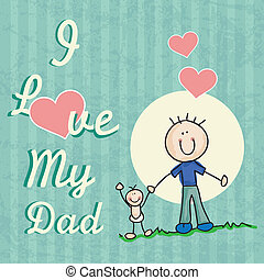 Fathers Day Icons and Cards Concepts Vector illustration