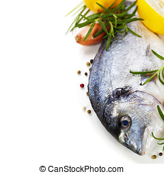 fresh dorada fish with thyme and lemon over white - food and...