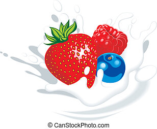 strawberry, blueberry, raspberry in yougurt or milk as food...