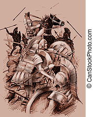 Ancient battle - Hand drawn illustration of an ancient...