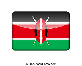 The Kenyan flag in the form of a glossy icon.