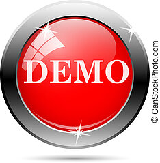 Demo icon with white writing on red background