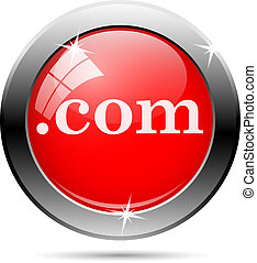 com icon - com icon with white writing on red background