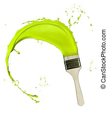 Green paint splashing out of brush Isolated on white...