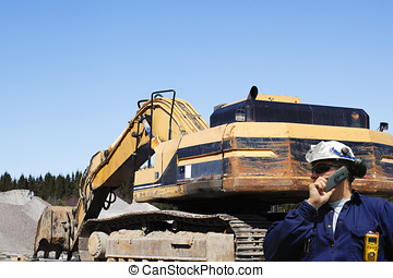 bulldozer with driver talking in ph - giant bulldozer,...