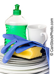 doing the dishes - dinnerware and cleaning utensils isolated...