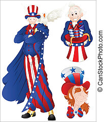 Portrait of Uncle Sam Vector - Drawing Art of Cartoon Uncle...