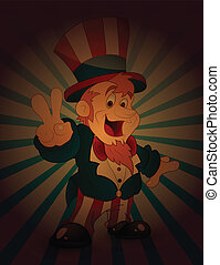 Uncle Sam Victory Sign - Drawing Art of Cartoon Uncle Sam...