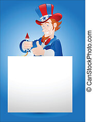Cartoon Uncle Sam with Banner