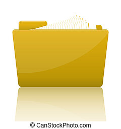 Yellow file folder with paper, vector illustration