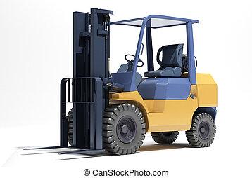 Forklift loader close-up on a light background