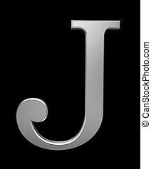 Letter J in brushed steel isolated on black with clipping...