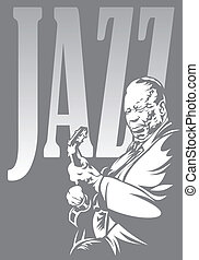 jazzman and jazz in the black and white colors