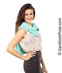 Smiling Elegant Female Against White Background