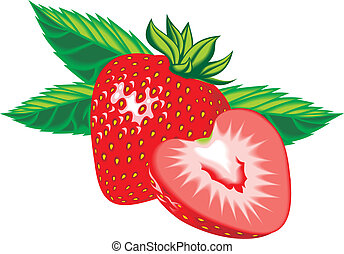 fresh strawberry isolated on the white background