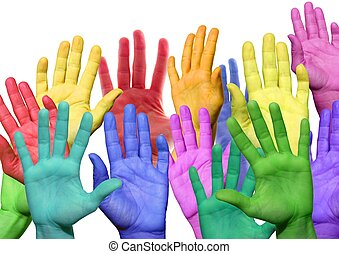 many colorful hands waving and symbolicind diversity