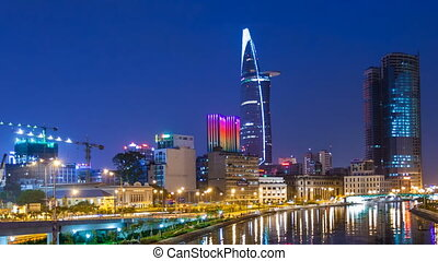 Ho Chi Minh City at Night - Saigon, Vietnam