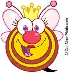 Happy Queen Bee Cartoon Character
