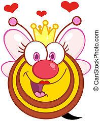Happy Queen Bee With Hearts