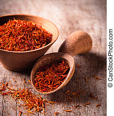 Saffron on wooden background