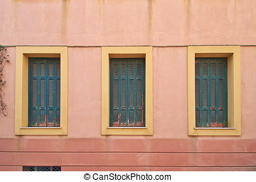 three house windows - three green house windows, Athens...