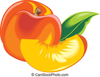 orange and fresh peach isolated in the white background