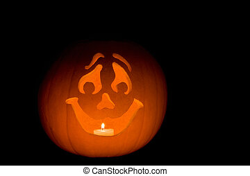 Happy Jack-O-Lantern - Carved pumpkin Jack-O-Lantern with...