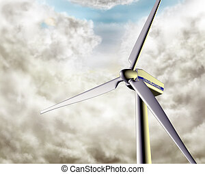 Windy wind turbine - Illustration of a wind turbine in...