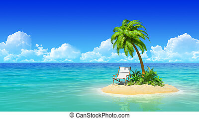 Chaise lounge and palm tree on tropical island.