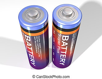 Pair of batteries - Illustration of two batteries standing...