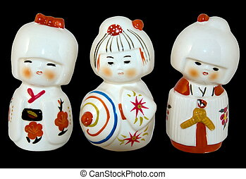Three japanese dolls - Three porcelain japanese dolls