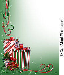 Christmas Border Gifts and flowers - Image and illustration...