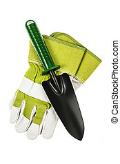 Gardening tools - Gardening gloves and trowel isolated on...