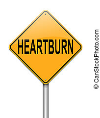 Heartburn concept - Illustration depicting a sign with a...