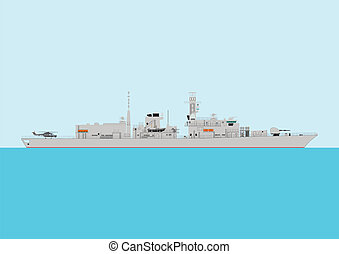 Warship - A Detailed Illustration of a Modern Warship at sea