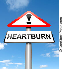 Heartburn concept. - Illustration depicting a sign with a...
