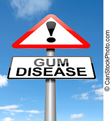 Gum disease concept - Illustration depicting a sign with a...