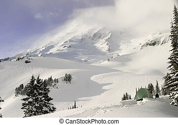 Winter On Mount Rainier - A view of Mt. Rainier from a...