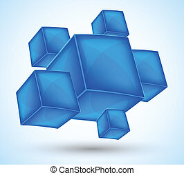 Background with blue cubes. Abstract illustration