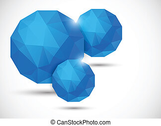 Abstract background with polygonal spheres