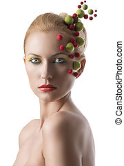 girl with colored molecules on the face
