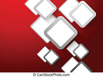 Red background with squares - Abstract red background with...