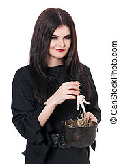Haughty witch with cauldron of potion isolated on white...