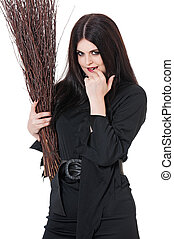 Witch coquette - Young witch coquette with broom isolated on...