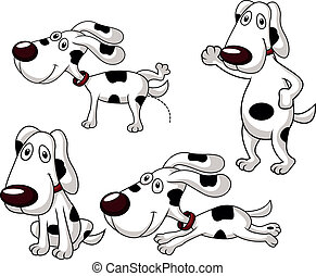 Cute dog cartoon set - Vector illustration of Cute dog...