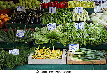 Market stall vegetables - Fresh ripe organic vegetables on...