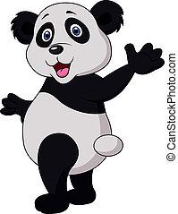 Cute panda cartoon waving hand - Vector illustration of Cute...