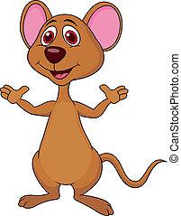 Cute mouse cartoon waving
